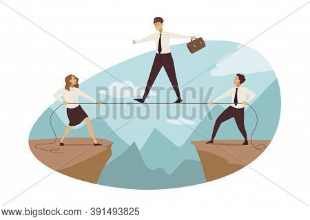 Anticrisis Suppport, Business, Management, Outsourcing Concept. Team Of Businesspeople Help Business
