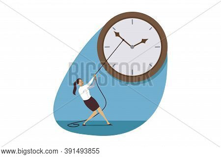 Time Management, Deadline, Business Concept. Stressed Businesswoman Manager Trying Stop Watch. Work