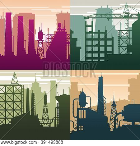 Modern Industrial Landscapes. Buildings Silhouettes, Oil Gas Industry. Environment And Ecological Si