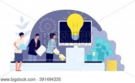 Brainstorm And Teamwork. Business Collaboration, Engagement Team Create Ideas Like Conveyor. Innovat