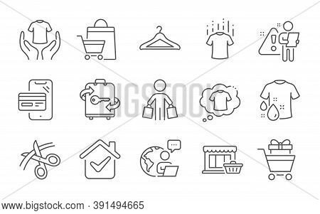 Marketplace, T-shirt And Buyer Line Icons Set. Dry T-shirt, Scissors And Shopping Trolley Signs. Clo