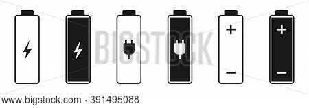 Battery Icons On White Background. Outline And Bold Power Symbol. Energy Sign In Black. Charger Cell