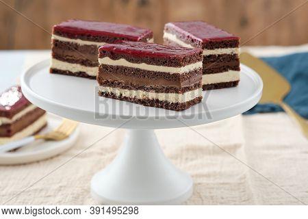Classic French Opera Cake. Opera Cake With Raspberries. Chocolate Cake.