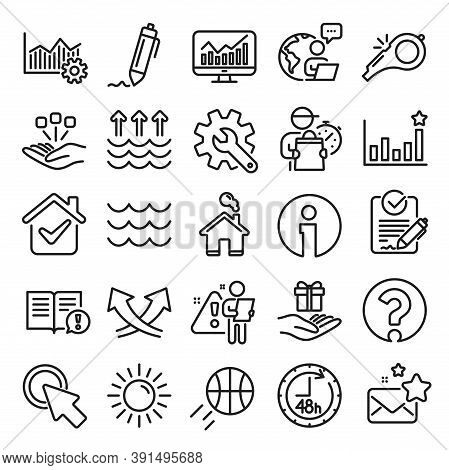 Waves, Sun, Efficacy Line Icons. Customisation, Global Warming, Question Mark Icons. Signature Rfp,