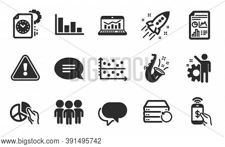 Dot Plot, Employee And Recovery Server Icons Simple Set. Talk Bubble, Jazz And Project Deadline Sign
