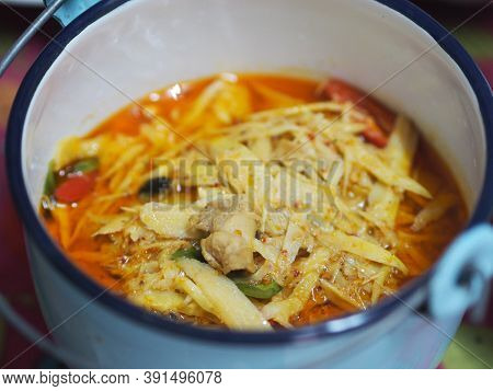 Red Curry With Chicken And Bamboo Shoots In White Bowl, Thai Food