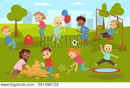 Cute Children Playing In Playground On Nature Landscape, Happy Kids Playing In Sandpit, Playing Socc
