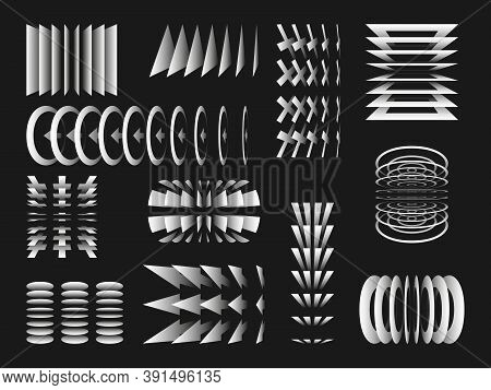 Geometric Shapes. Flipped Images Shapes. Memphis Design. Collection Trendy Vector Geometric Shapes.