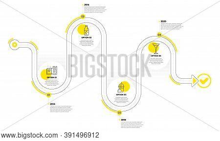 Martini Glass, Recipe Book And Ice Cream Milkshake Line Icons Set. Timeline Plan Infograph. Water Bo
