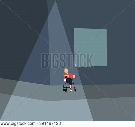 Elderly Man In A Wheelchair Sitting Waiting At Sidewalk With His Face Mask Staring To The Road. Disa