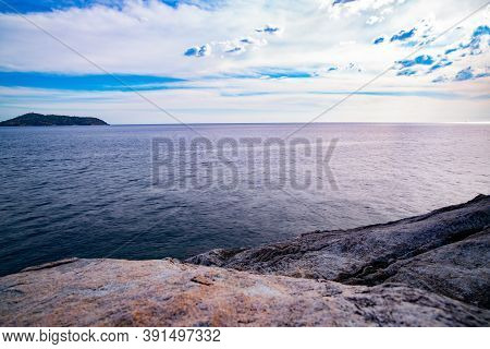 Beautiful Seascape With Rocks In The Foreground Composition Of Nature