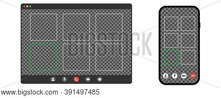Video Call Conference On Mobile Phone And Computer. Mockup Of Remote Conversation With Transparent B