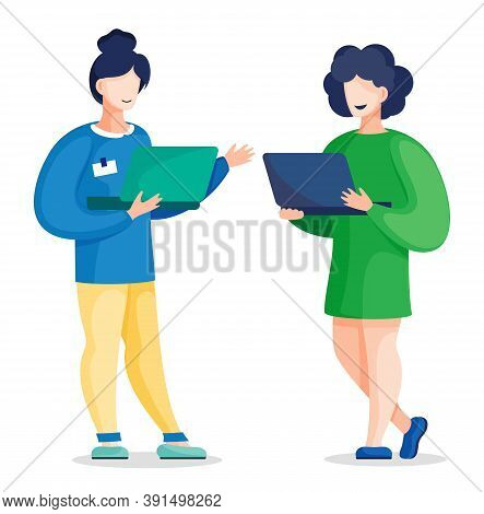 Two Vector Office Colleagues Standing And Communicating Holding Laptop In Hands. Women Discuss A New