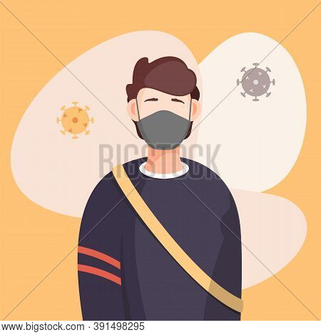 Covid-19, Portrait Of Man In Respiratory Medical Mask, Flying Virus Pathogen Around. Spreading Virus