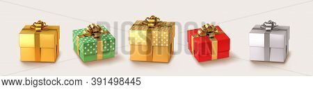 Set Of Gifts Box. Collection Realistic Vector Gift Presents. Christmas Golden And Silver Gifts.