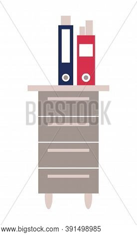 Vector Flat Illustration Of Two Folders With Documents And Reports Standing At The Office Locker. Of