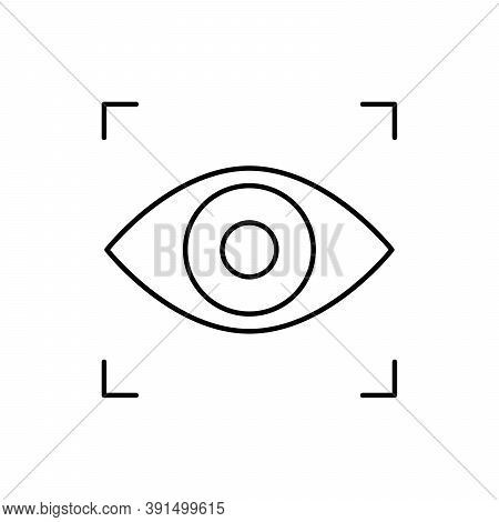 Iris Or Eye Recognition Scan Technology Single Isolated Icon With Line Or Outline Style