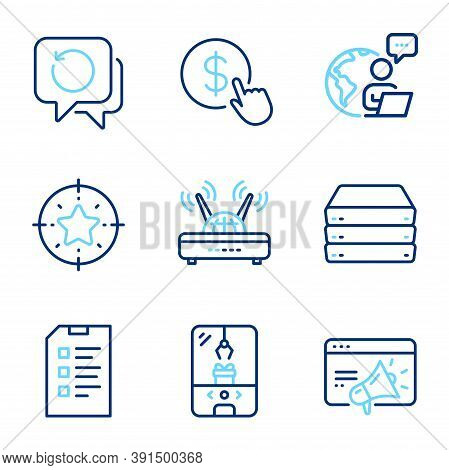 Technology Icons Set. Included Icon As Buy Currency, Servers, Seo Marketing Signs. Wifi, Recovery Da