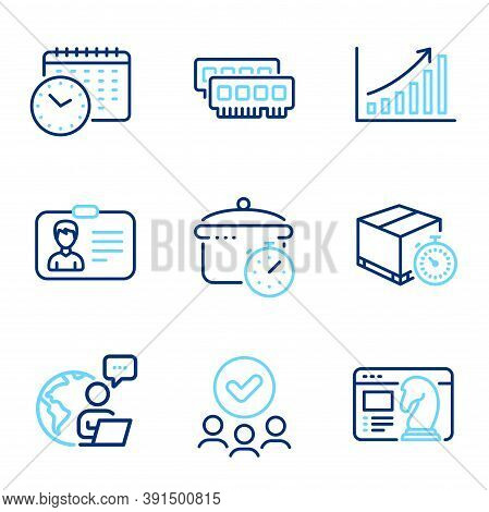 Business Icons Set. Included Icon As Identification Card, Ram, Approved Group Signs. Calendar Time,