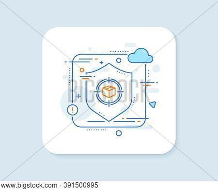 Parcel Tracking Line Icon. Abstract Vector Button. Delivery Monitoring Sign. Shipping Box In Target