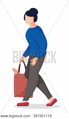 Flat Vector Illustration Of Young Brunette Woman Holding Bag With Bread In Hand. Female Walking From