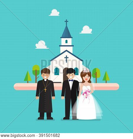 Wedding Ceremony At Church In Flat Style. Priest And Wedding Couple Are Standing In Front Of Church.