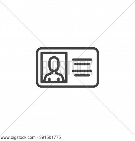 Id Card Line Icon. Identity Badge Linear Style Sign For Mobile Concept And Web Design. Employee Iden