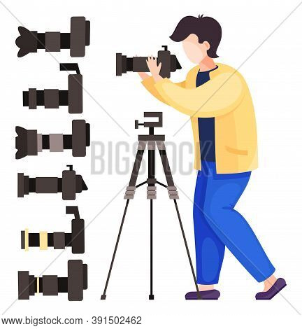 Vector Illustration Of Cartoon Character Isolated At White Background. Photographer, Paparazzi With