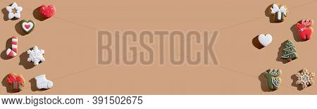 Beige Xmas Advertising Background. Biscuit Frame Festive Pattern. Winter Holidays Cookie Ornament. G