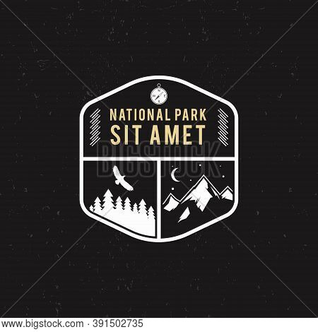 Stamp For National Park, Mountain Camp. Tourism Hipster Style Patch, Badge. Expedition Emblem. Winte