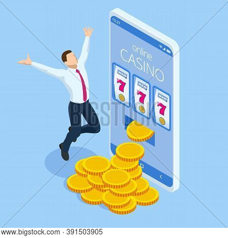Isometric Online Casino Gambling Concept. Smartphone Or Mobile Phone And Slot Machine.