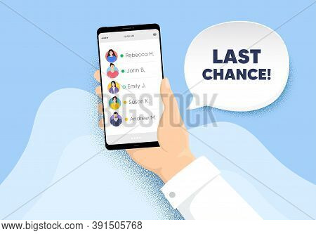 Last Chance Sale. Hand Hold Phone With Contacts List. Special Offer Price Sign. Advertising Discount