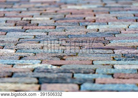 Stone Pavement Texture, Granite Cobblestoned Pavement Background, Abstract Background Of Old Cobbles
