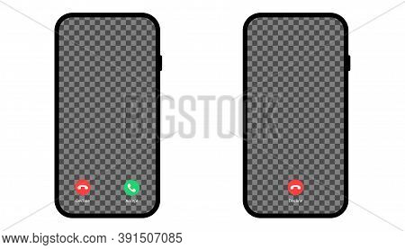Accept And Decline Phone Call. Isolated Mockup Of Smartphone Active Call. Conversation Screen With T