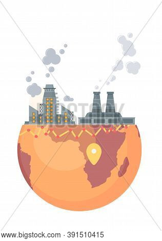 Highly Polluting Factory Plant With Smoking Towers And Pipes. Carbon Dioxide Emissions. Environment