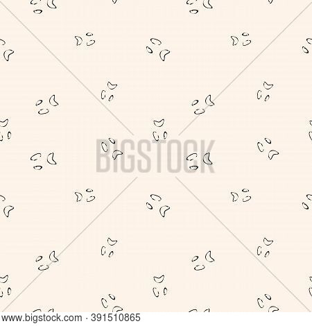Scary Face Silhouette. Halloween Seamless Pattern. Black And White Vector Abstract Texture. Simple D