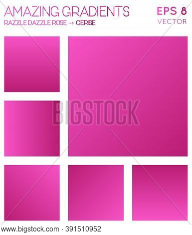 Colorful Gradients In Razzle Dazzle Rose, Cerise Color Tones. Adorable Background, Lively Vector Ill