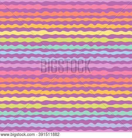 Abstract Seamless Pattern With Rainbow Wavy Lines, Horizontal Stripes, Organic Shapes. Stylish Vecto