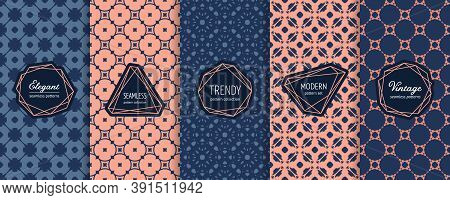 Vector Geometric Seamless Patterns. Set Of Vintage Background Swatches With Elegant Modern Labels, S