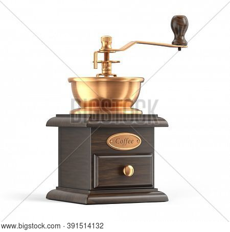 Retro manual coffee grinder isolated on white background Device for grinding coffee beans - 3d rendering