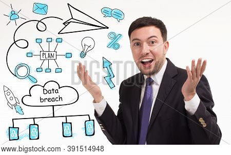 Business, Technology, Internet And Network Concept. Young Businessman Thinks Over The Steps For Succ