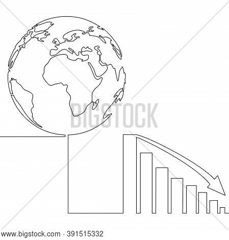 Continuous One Single Line Drawing Declining Graph With Earth Icon Vector Illustration Concept