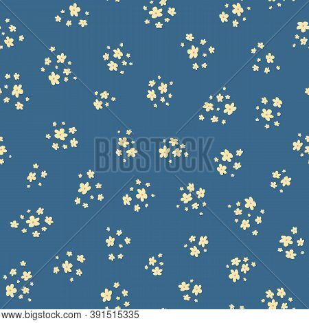 Vector Seamless Pattern With Small Yellow Pretty Flowers On Blue Backdrop. Liberty Style Wallpapers.
