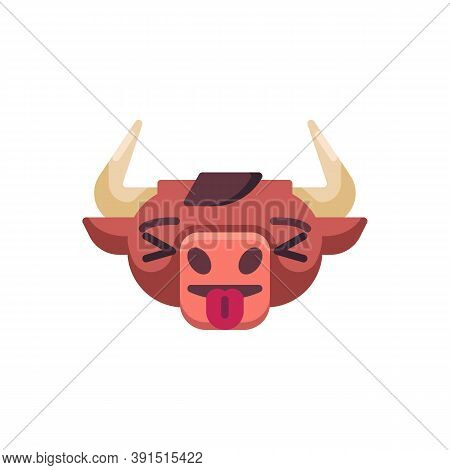 Cow Stuck Out Tongue Emoji Flat Icon, Vector Sign, Bull, Ox Emotion Colorful Pictogram Isolated On W