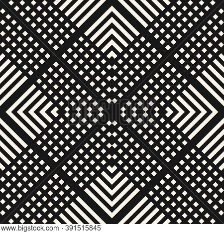 Vector Geometric Seamless Pattern With Squares, Lines, Grid, Mesh, Repeat Tiles. Simple Modern Black