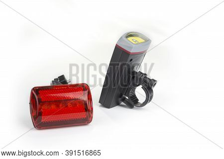 Front And Rear Led Bicycle Lights On A White