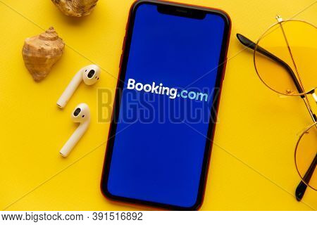 Tula, Russia - September 08, 2020: Booking.com App Logo On Iphone Display