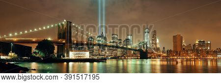 New York City downtown Brooklyn Bridge and september 11 tribute at night