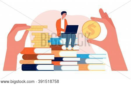 Investment In Education. Student With Laptop Sit On Stack Of Books. Hands Holding Coins Vector Illus