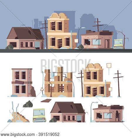 Damaged Buildings. Bad Old Trouble Houses Abandoned Exterior Wooden Destroyed Constructions Vector C
